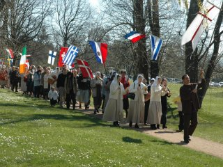 Procession with international banners