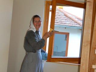 Sister doing repair jobs